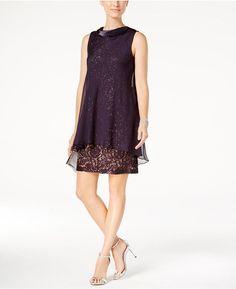 Sl Fashions Sequined Lace Chiffon Shift Dress