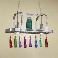 Hi-Lite Monterey Rectangular Pot Rack with 2 Lights Accent Finish: Copper Accents, Base Finish: Tuscany