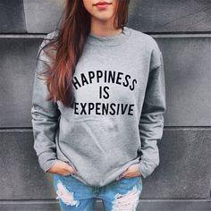 Fanala 2017 áo nỉ hạnh phúc là đắt tiền sudaderas mujer phụ nữ thường dài tay hoodie jumper áo thun áo tops