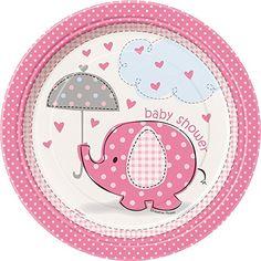 Pink Elephant Girl Baby Shower Dessert Plates, 8ct Unique