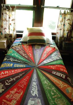 pennant quilt...now to find vintage pennants with meaning for my family...WESTTOWN, George School, Mt Holyoke, Harvard, Penn State, Naval Academy, Sandy Spring Friends