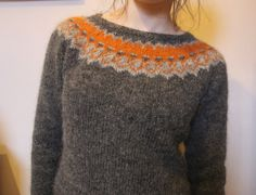 Strokkur by Ysolda knit with Lopi yarns--love the orange!