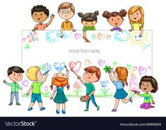 Funny cartoon children of different nationalities hold empty banner for your advertising - Buy this stock vector and explore similar vectors at Adobe Stock Free Psd Flyer Templates, Powerpoint Design Templates, Transportation For Kids, Kids Going To School, Party Frame, Kids Background, Kids Vector, Happy Birthday Greeting Card, Borders For Paper