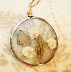 flower pressed vintage crafts | Vintage Pressed Butterfly Wildflowers Glass Circle Pendant Necklace
