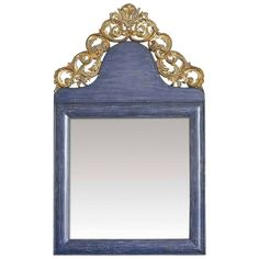 Venetian Blue Wall Mirror | From a unique collection of antique and modern wall mirrors at https://www.1stdibs.com/furniture/mirrors/wall-mirrors/