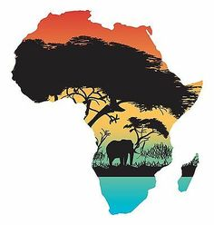 Africa Map Flag Sticker Silhouette UV resistant For car truck laptop door Africa Drawing, Africa Painting, Africa Silhouette, Africa Tattoos, Africa Map Tattoo, Afrique Art, African Quilts, Art Simple, African Sunset