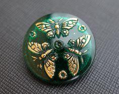 Hand Made Art Czech Glass Buttons with Butterflies by ScaraBeads, $3.40