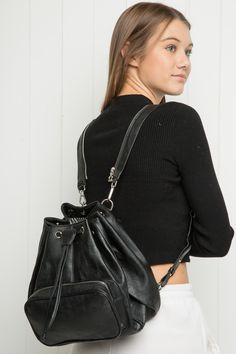 Brandy ♥ Melville | Leather Backpack - Accessories Backpack Outfit, Just Style, Pacsun, Brandy Melville, Baguette, Leather Backpack, Breathe, Purses And Bags, Prada