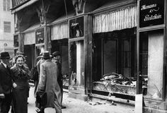 """Jewish businesses were destroyed in Berlin in Nov of 1938... known as """"the night of the broken glass""""."""