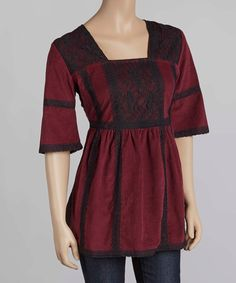 Another great find on #zulily! Maroon Lace Square Neck Top by Just Funky #zulilyfinds