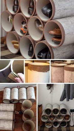 closet shoe storage ideas, shoe storage ideas for small closets, small space shoe storage ideas Shoe Storage Small Closet, Closet Shoe Storage, Small Closets, Diy Organizer, Organization Hacks, Recycling Storage, Diy Storage, Storage Ideas, Bathroom Storage