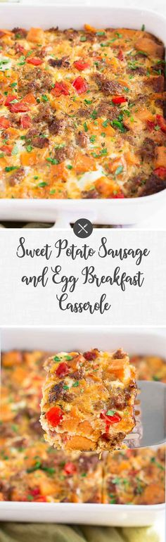 Sweet Potato Sausage and Egg Breakfast Casserole a healthy breakfast casserole perfect for a large breakfast or brunch with your whole family via NeliHoward Healthy Breakfast Casserole, Egg Recipes For Breakfast, Eat Breakfast, Brunch Recipes, Easy Dinner Recipes, Breakfast Ideas, Breakfast Potatoes, Healthy Potatoes, Healthy Snacks
