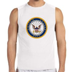 Officially Licensed U.S. Navy Gold Emblem White Sleeveless Shirt now available! The Navy Service is a 100% Polyester Gildan sleeveless shirt will keep you cool and dry all year long. Let your biceps breathe and show your military pride at the same time! Designed & Sublimated in the USA