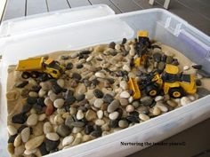Construction sensory box plus other ideas from a home-schooling mom of young boys
