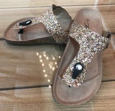 47264cc8a6cd2a Birkenstock inspiredGold OR Black glitter thong slip on sandal. Fit  True  to size