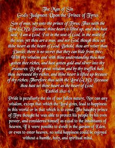 The Man of Sin - God's Judgment Upon the Prince of Tyrus - Ezekiel 28:2-6