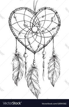 Dreamcatcher Heart vector image on VectorStock Atrapasueños Tattoo, Cover Tattoo, Leg Tattoos, Sleeve Tattoos, Yakuza Tattoo, Dream Catcher Sketch, Dream Catcher Tattoo Design, Dream Catcher Art, Wood Burning Patterns