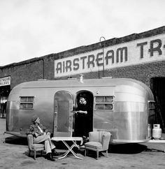 Founder Wally Byam: RV Icon Wally Byam-Airstream taken outside the factory in Los Angeles.Wally Byam-Airstream taken outside the factory in Los Angeles. Vintage Rv, Vintage Airstream, Vintage Caravans, Vintage Travel Trailers, Vintage Campers, Airstream Decor, Airstream Remodel, Airstream Interior, Camper Renovation