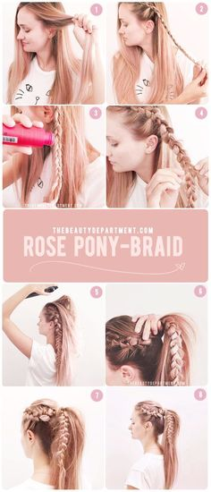 Rose pony braid! A perfect 10 minute hairstyle to keep it cute all summer! | DIY…