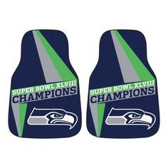 Put the pedal to the metal  ||||  FANMATS (16212) Seattle Seahawks Super Bowl XLVIII Champions Carpeted Vinyl Universal Car Mat - 2 Piece Fanmats -- See Amazon