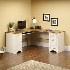 Modern Antique White L-shaped Corner Desk