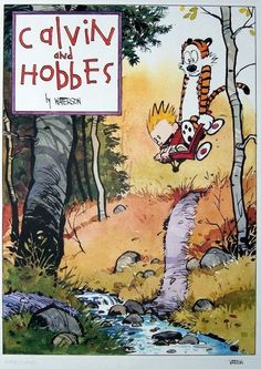 Calvin and Hobbes:Joyride by Bill Watterson, 1996 . Absolute joy to read. Best cartoon series ever. Calvin And Hobbes Comics, Calvin And Hobbes Quotes, Patrick Nagel, Political Books, Lectures, Comic Strips, Retro, Comic Art, Illustrators