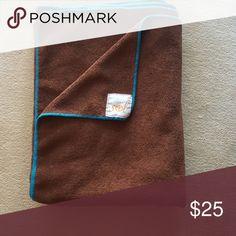 GAIA SOL hot yoga mat towel Brown micro fiber terry cloth with aqua stitching yoga mat length Gaia Accessories