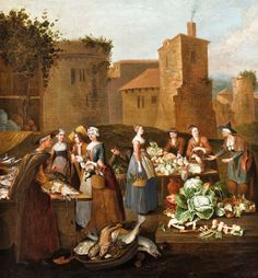 Sharing the Harvest - 1700s Food Markets by Flemish artist Pieter Angillis 1685-1734 - Its About Time