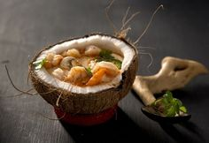 Shrimp Coconut Curry Soup (Libbie Summers and Chia Chong for Salted and Styled) -love the bowl Seafood Recipes, Gourmet Recipes, Soup Recipes, Great Recipes, Cooking Recipes, Favorite Recipes, Pasta Al Curry, Shrimp Curry, Thai Shrimp