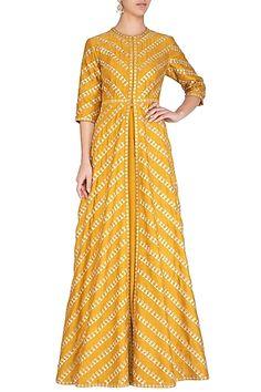 Mustard Embroidered Jacket With Skirt Design by Priyal Prakash at Pernia's Pop Up Shop Anarkali Dress, Pakistani Dresses, Indian Dresses, Indian Outfits, Lehenga, Saree, Indian Fashion Designers, Indian Designer Wear, Hijab Style Dress