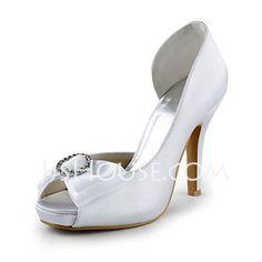 Wedding Shoes - $69.99 - Satin Cone Heel Peep Toe Platform Sandals Wedding Shoes With Bowknot Rhinestone (047016577) http://jjshouse.com/Satin-Cone-Heel-Peep-Toe-Platform-Sandals-Wedding-Shoes-With-Bowknot-Rhinestone-047016577-g16577
