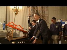 President Obama fires a high-powered marshmallow cannon created by an eighth grader. [Raw video!]
