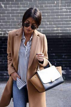 manteau camel, chemise à rayures, beau sac en cuir, manteau élégant indémodable