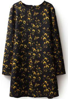 Black Long Sleeve Yellow Floral Straight Dress 15.90
