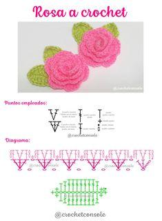 Patrón con diagrama y video tutorial para tejer una rosa o flor con hojas a crochet. Crochet Diagram, Crochet Motif, Crochet Doilies, Crochet Stitches, Embroidery Flowers Pattern, Crochet Flower Patterns, Crochet Flowers, Cute Crochet, Irish Crochet