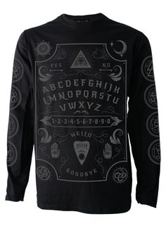 Fine knit cotton long sleeve t shirt with over sized super soft feel front and arm prints.                                                                                                                                          Part of the Ouija range.