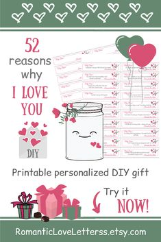 This PRINTABLE DIY kit of 365 Reasons Why I Love You is excellent PERSONALIZED romantic gift for her (sentimental girlfriend gift)! Please visit our website to buy it now!