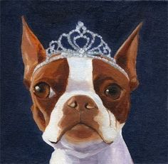 BOSTON TERRIER dog art PRINT 101 bostons wearing by rubenacker, $11.99