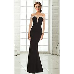 Formal+Evening+Dress+Trumpet+/+Mermaid+Off-the-shoulder+Floor-length+Chiffon+with+Beading+–+USD+$+109.99