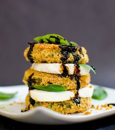 Fried Green Tomato Caprese ( for all my green tomatoes.)