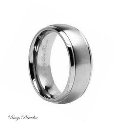 8mm Titanium Ring Men's Titanium Wedding Band by RingsParadise