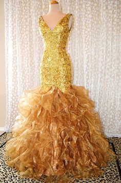 JOVANI GOLD DAZZLING EVENING PAGEANT PROM FORMAL BALL GALA GOWN DRESS