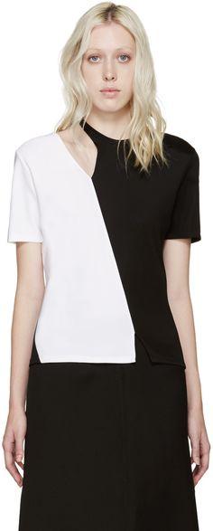 Paco Rabanne Black & White Asymmetrical T-Shirt