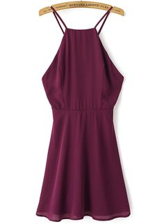 Wine Red Spaghetti Strap Backless Chiffon Dress