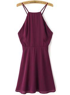 Wine Red Spaghetti Strap Backless Chiffon Dress