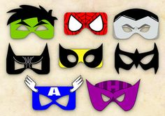 Superheroes Mask Cut-out  - Hulk, Spiderman, Colossus, Batman, Wolverine, Red Robin, Captain America & Hawkeye - INSTANT DIGITAL DOWNLOAD on Etsy, $16.36