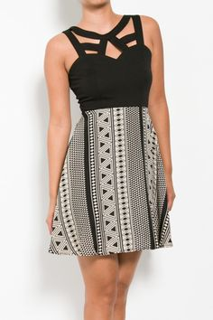 Strappy Accents Print Dress