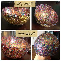 Confetti Bowls but also an idea for coverage of other damaged items that could be recovered? Valentine's Day Crafts For Kids, Diy Arts And Crafts, Easy Crafts, Crafts Cheap, Balloon Crafts, Pinterest Projects, Pinterest Fails, Alice In Wonderland Tea Party, Do It Yourself Projects