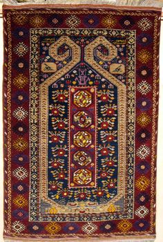 TURKOMAN ERSARI PRAYER RUG. A rare example from the Kizyl Ayak sub-group of the Ersari in northern Afghanistan. The rug is dated 1347 which equates to 1939.