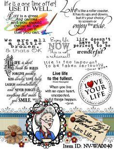 Live Life word art, sentiment, digital stamps